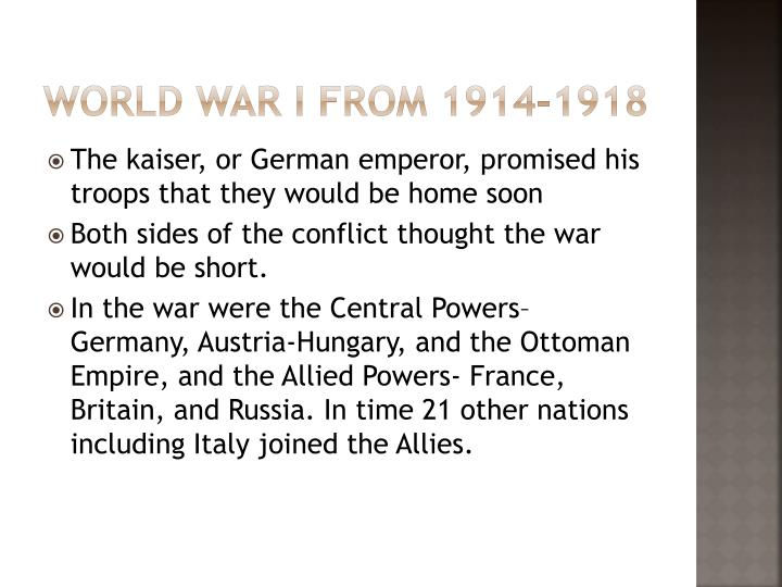 World war I from 1914-1918