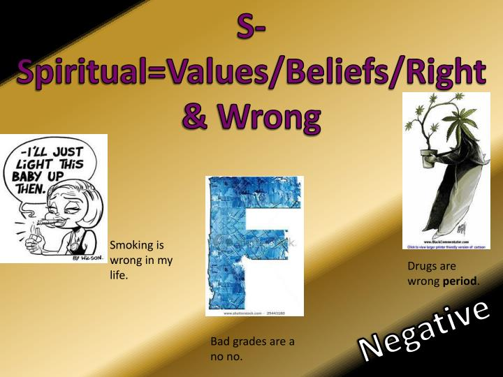 S-Spiritual=Values/Beliefs/Right & Wrong