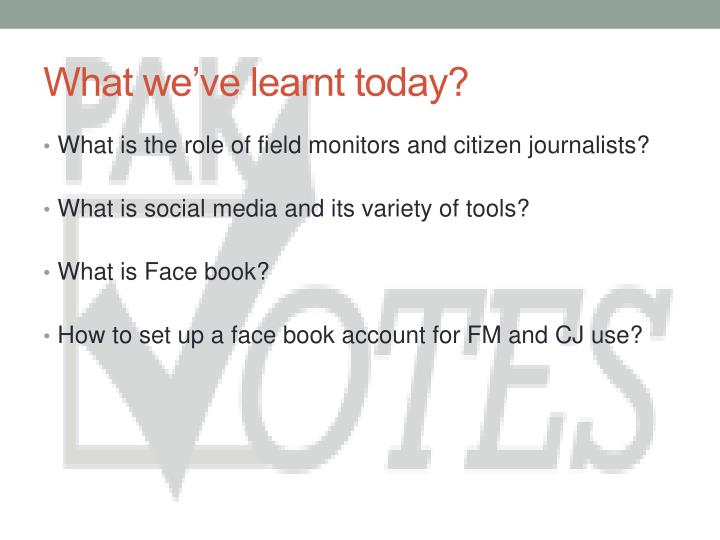 What we've learnt today?