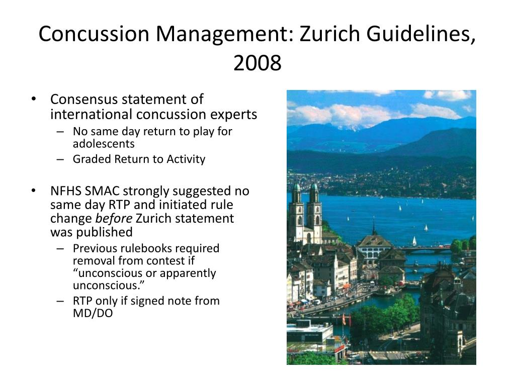 Concussion Management: Zurich Guidelines, 2008