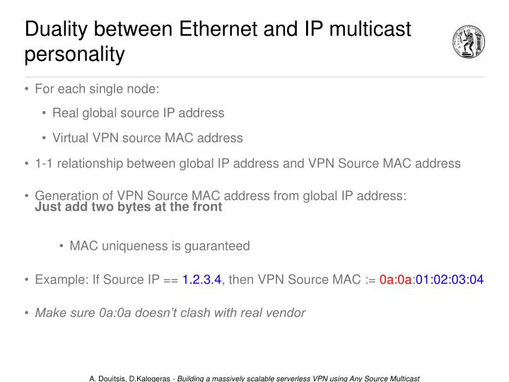 Duality between Ethernet and IP multicast personality