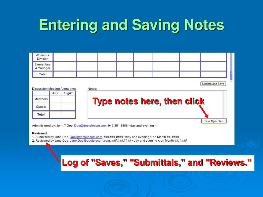 Entering and Saving Notes