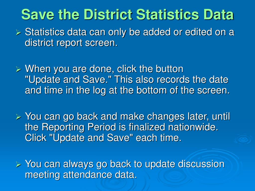 Save the District Statistics Data