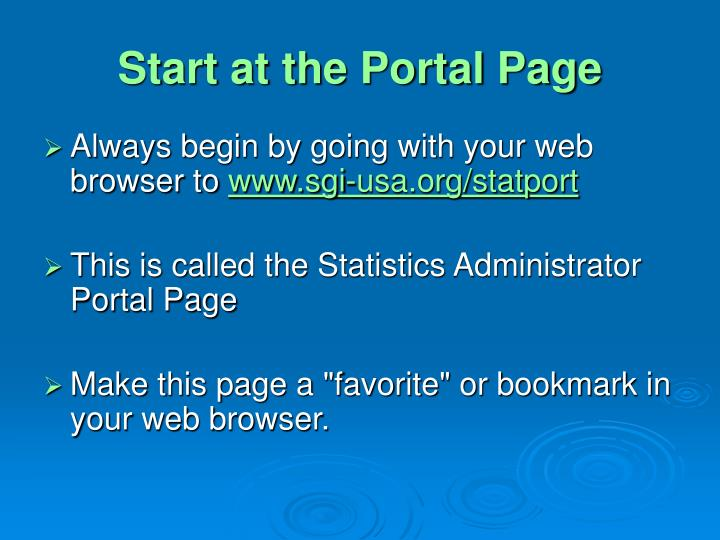 Start at the portal page