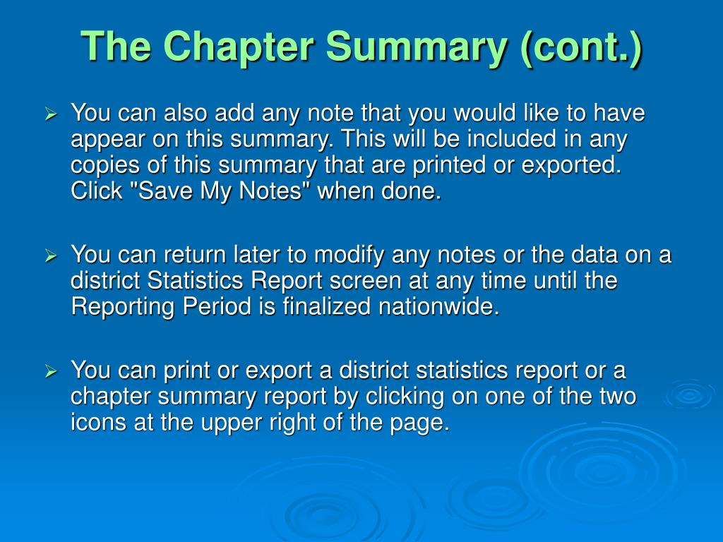 The Chapter Summary (cont.)