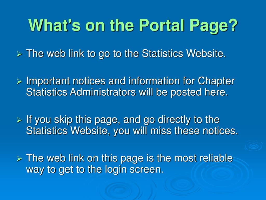 What's on the Portal Page?