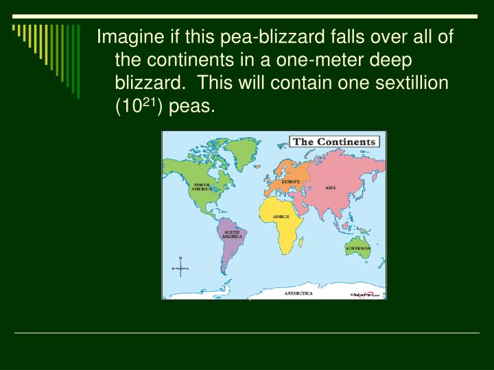 Imagine if this pea-blizzard falls over all of the continents in a one-meter deep blizzard.  This will contain one sextillion (10