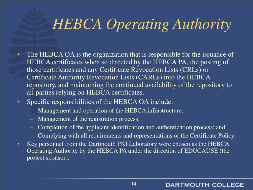 HEBCA Operating Authority