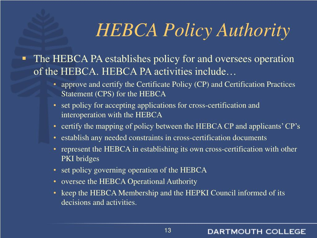 HEBCA Policy Authority