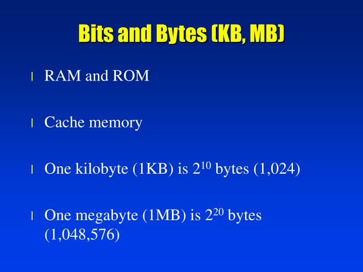 Bits and Bytes (KB, MB)