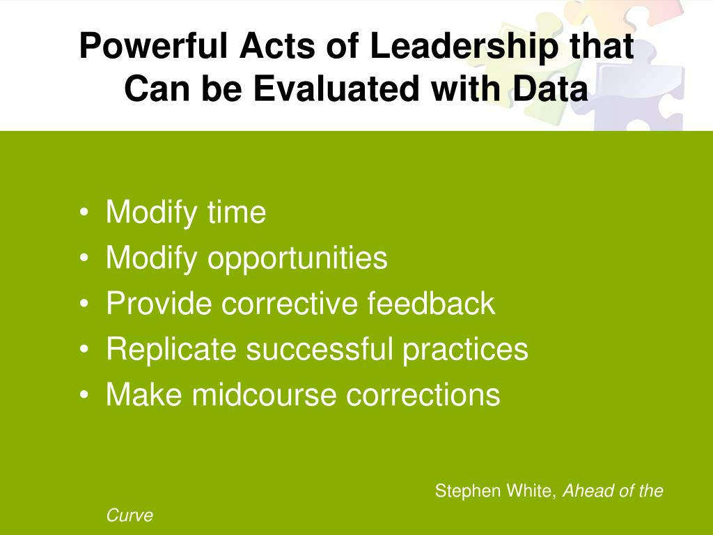 Powerful Acts of Leadership that Can be Evaluated with Data