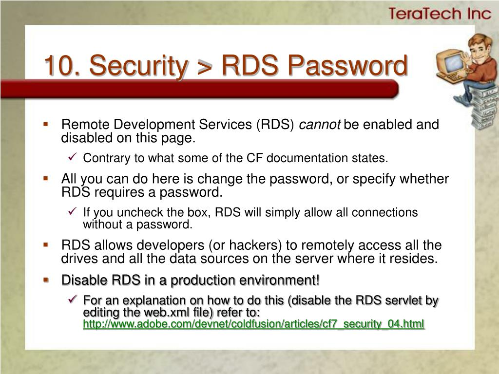 10. Security > RDS Password