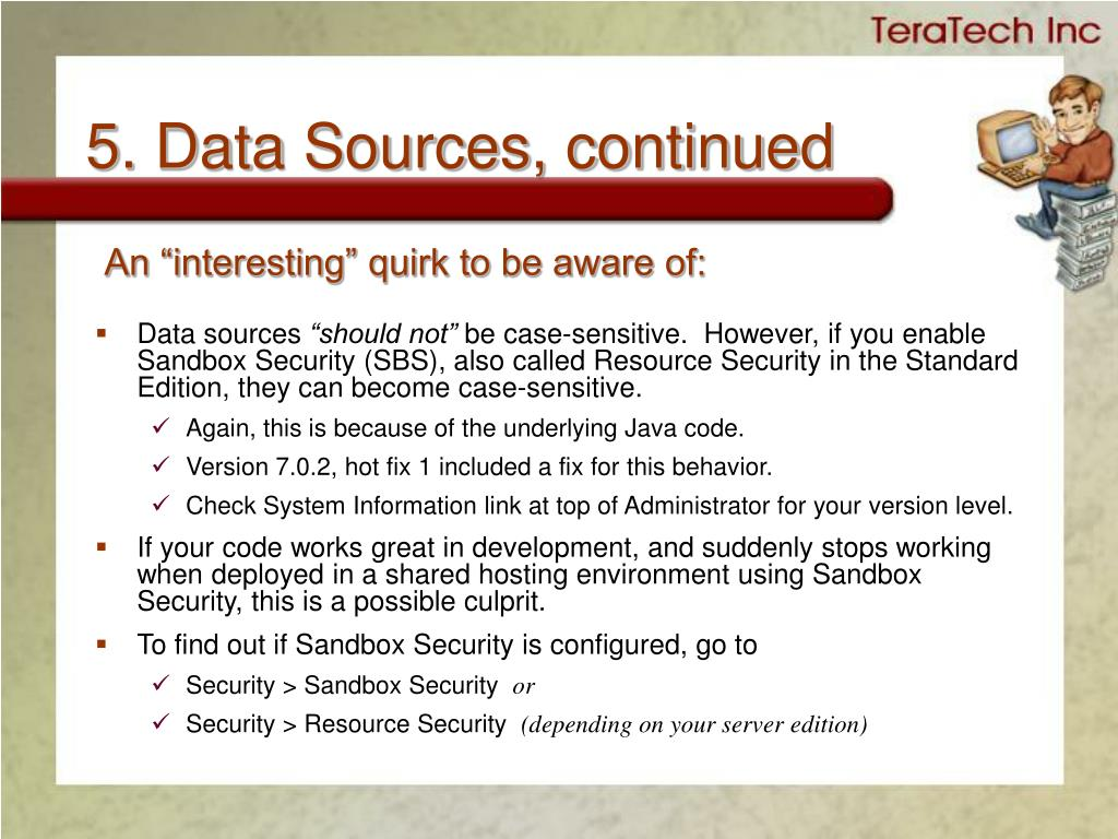5. Data Sources, continued