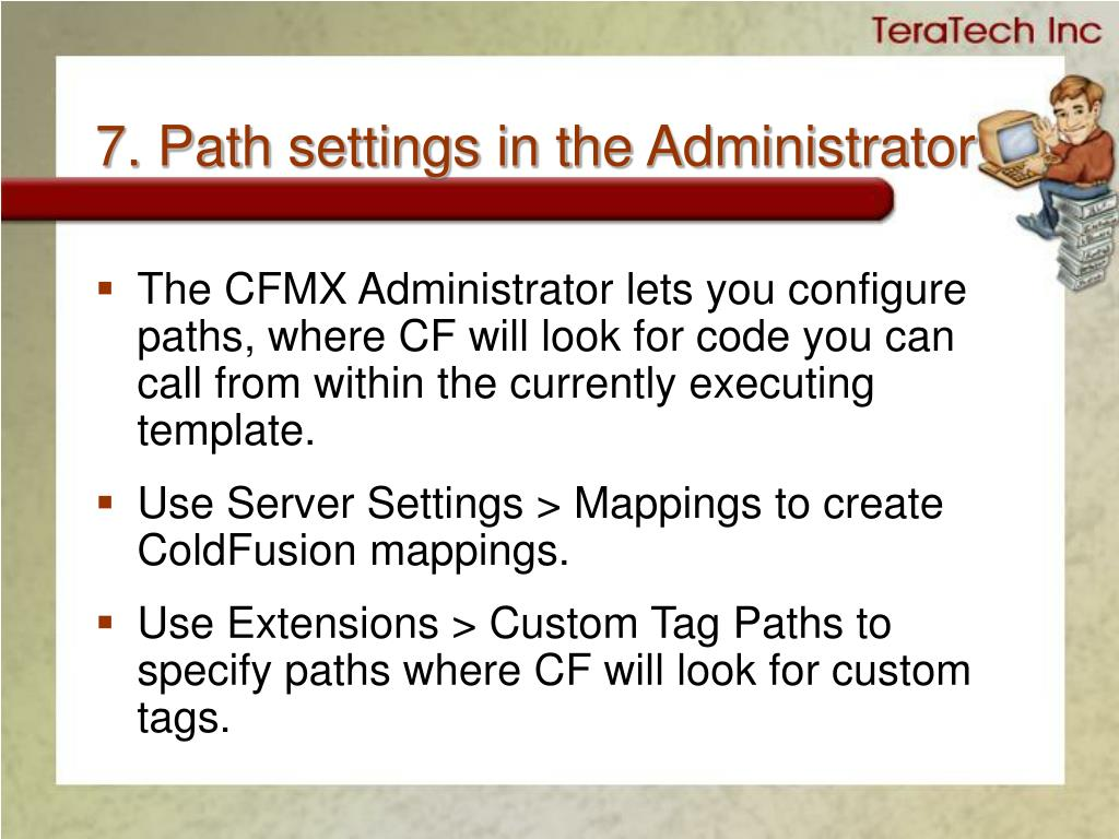 7. Path settings in the Administrator