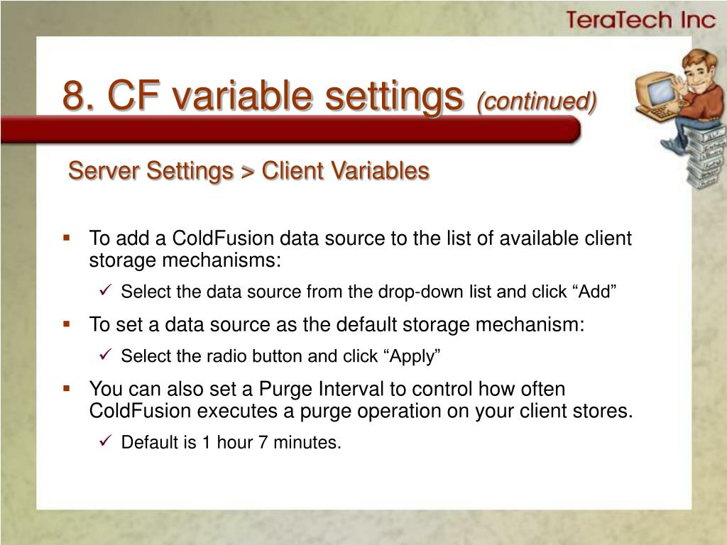 8. CF variable settings