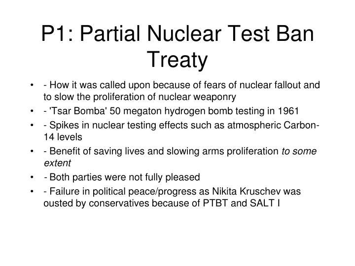 P1: Partial Nuclear Test Ban Treaty
