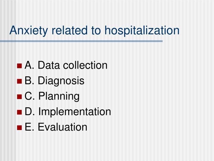 Anxiety related to hospitalization