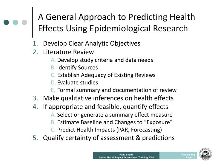 A General Approach to Predicting Health Effects Using Epidemiological Research