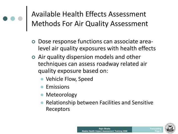 Available Health Effects Assessment Methods For Air Quality Assessment