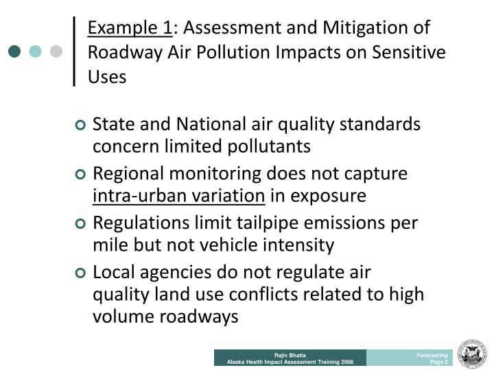 Example 1 assessment and mitigation of roadway air pollution impacts on sensitive uses