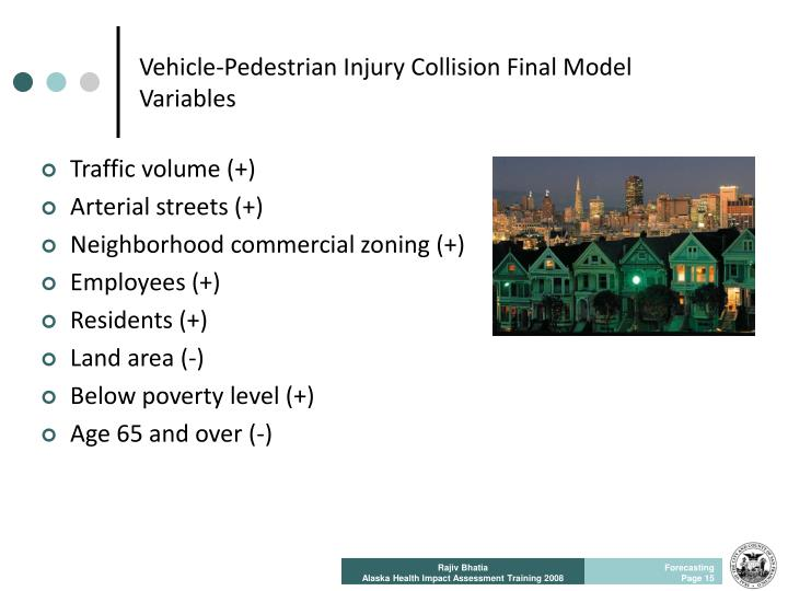 Vehicle-Pedestrian Injury Collision Final Model Variables