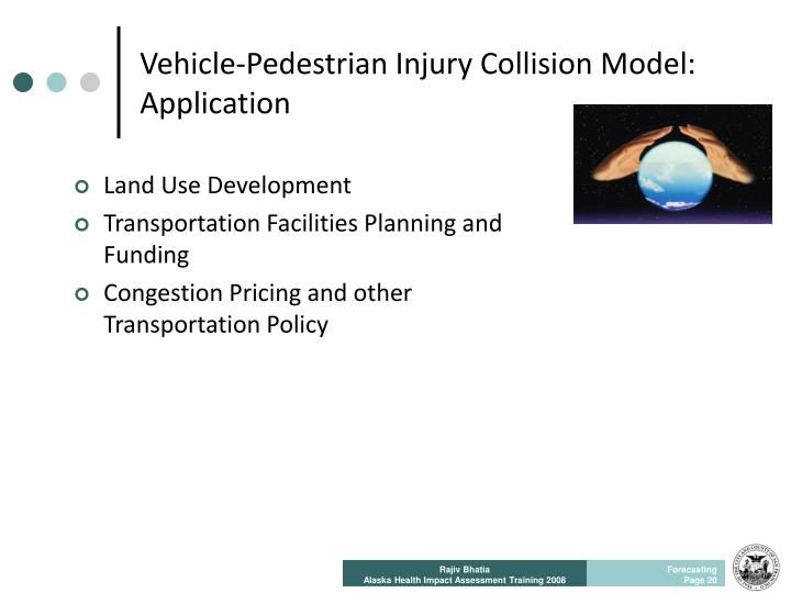 Vehicle-Pedestrian Injury Collision Model: Application