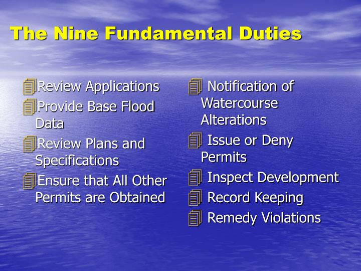 The nine fundamental duties