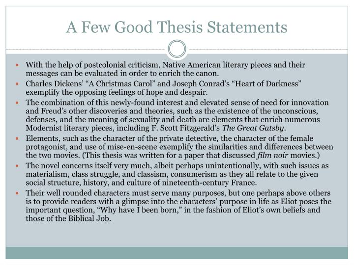 A Few Good Thesis Statements