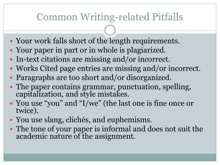 Common Writing-related Pitfalls
