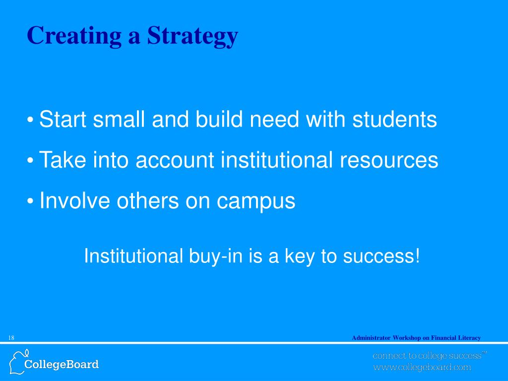 Creating a Strategy