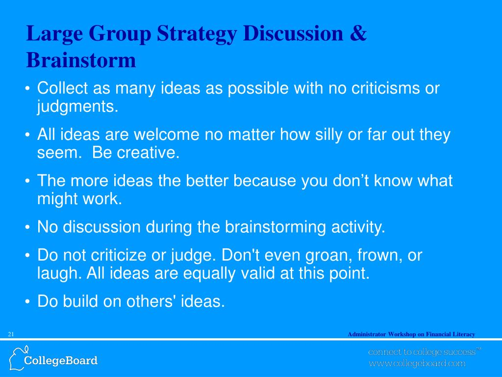 Large Group Strategy Discussion & Brainstorm