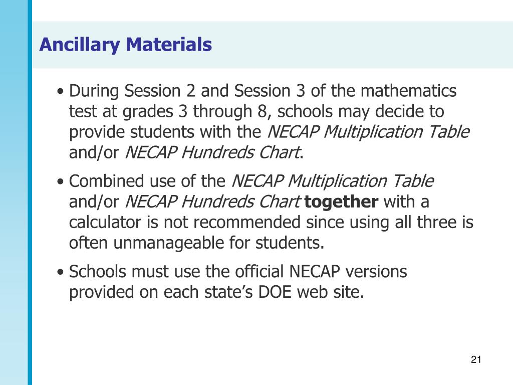 During Session 2 and Session 3 of the mathematics test at grades 3 through 8, schools may decide to provide students with the