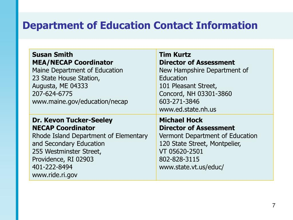 Department of Education Contact Information