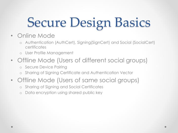 Secure Design Basics