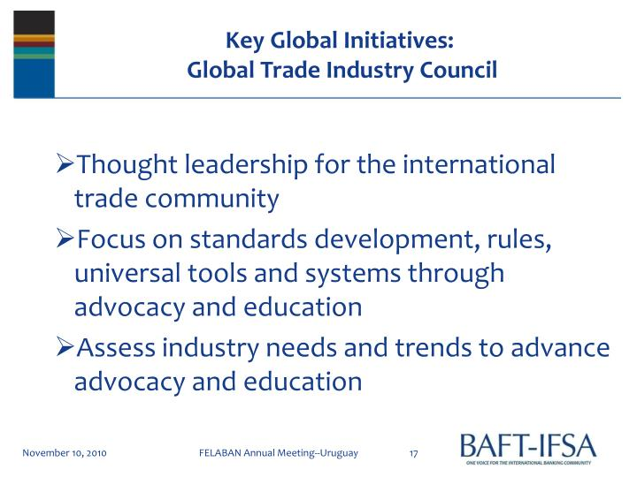 Key Global Initiatives: