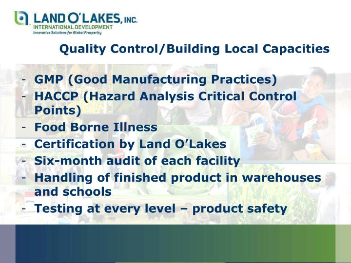 Quality Control/Building Local Capacities