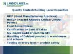 quality control building local capacities
