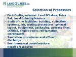 selection of processors
