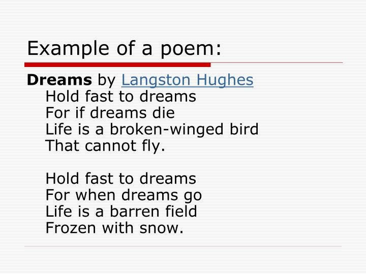 Example of a poem: