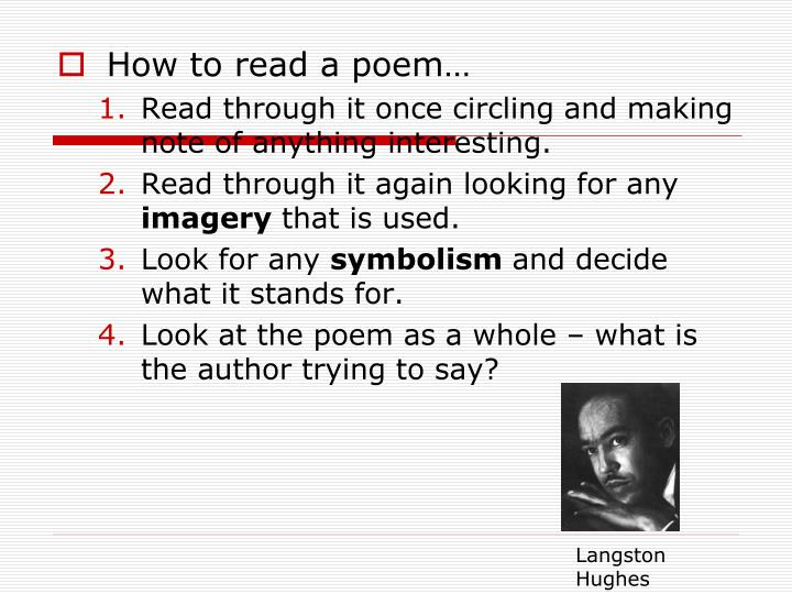 How to read a poem…