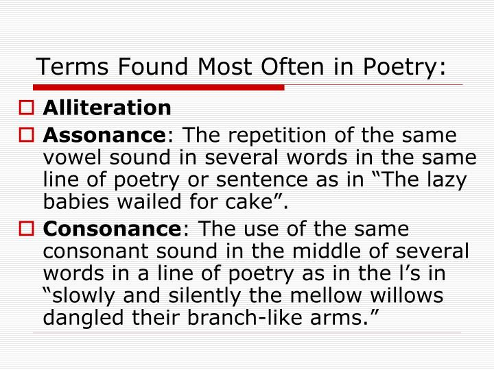 Terms found most often in poetry