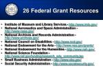 26 federal grant resources