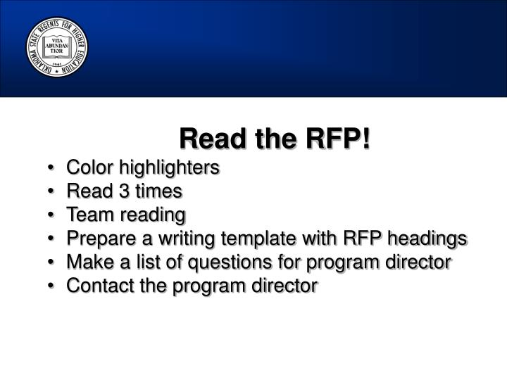 Read the RFP!