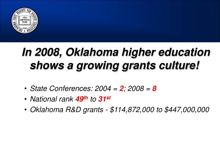 In 2008, Oklahoma higher education shows a growing grants culture!