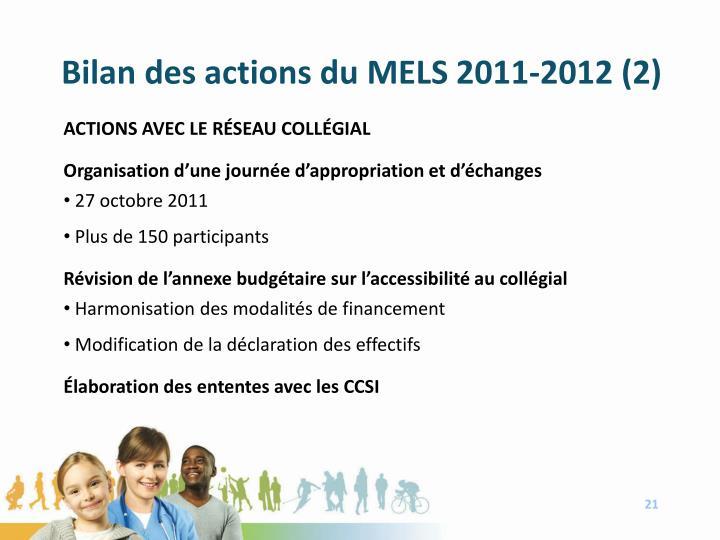 Bilan des actions du MELS 2011-2012 (2)
