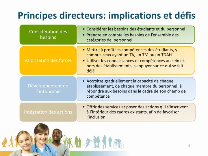 Principes directeurs: implications et défis