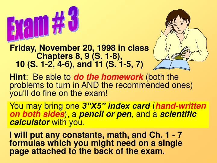 Exam # 3