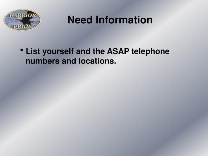 Need Information