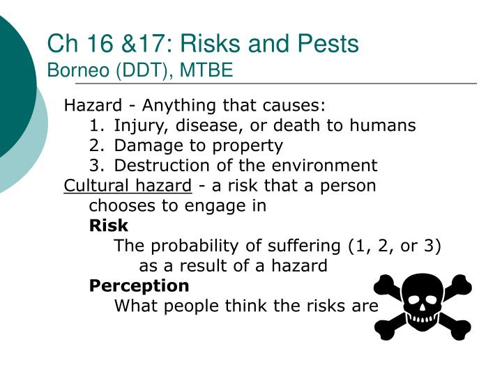 Ch 16 &17: Risks and Pests