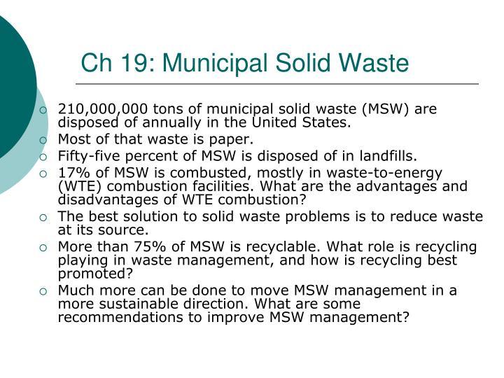 Ch 19: Municipal Solid Waste